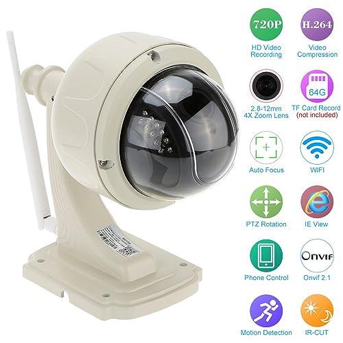 KKmoon Digital Zoom PTZ CCTV Camera H.264 HD 720P 2.8-12mm Auto-focus PTZ Wireless WiFi IP Camera Security CCTV Camera Home Surveillance PTZ Dome Camera, 360 degree Pan, 90 degree Tilt
