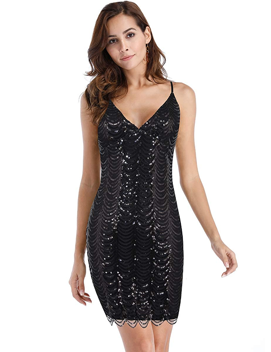BROVAVE Women Sequin Glitter Dress Plunge V Neck Sleeveless Backless Mini Dresses Club Party Bright