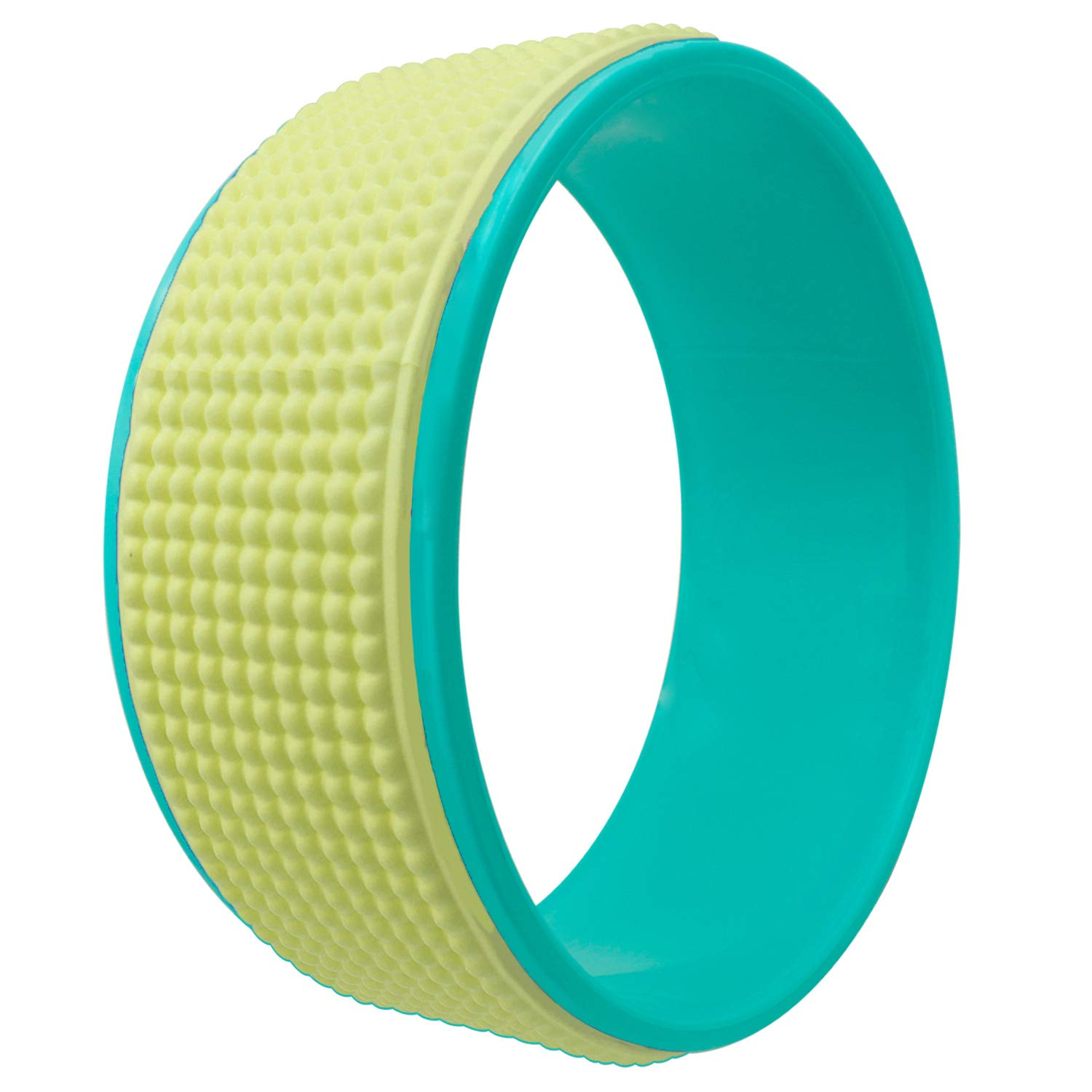 seeknfind 13 x 5 Inch Basic Yoga Wheel - Strongest & Comfortable Large Yoga Wheel Dharma Yoga Wheel for Stretching Increasing Flexibility and Improving Backbends (Massage-Green and Yellow)