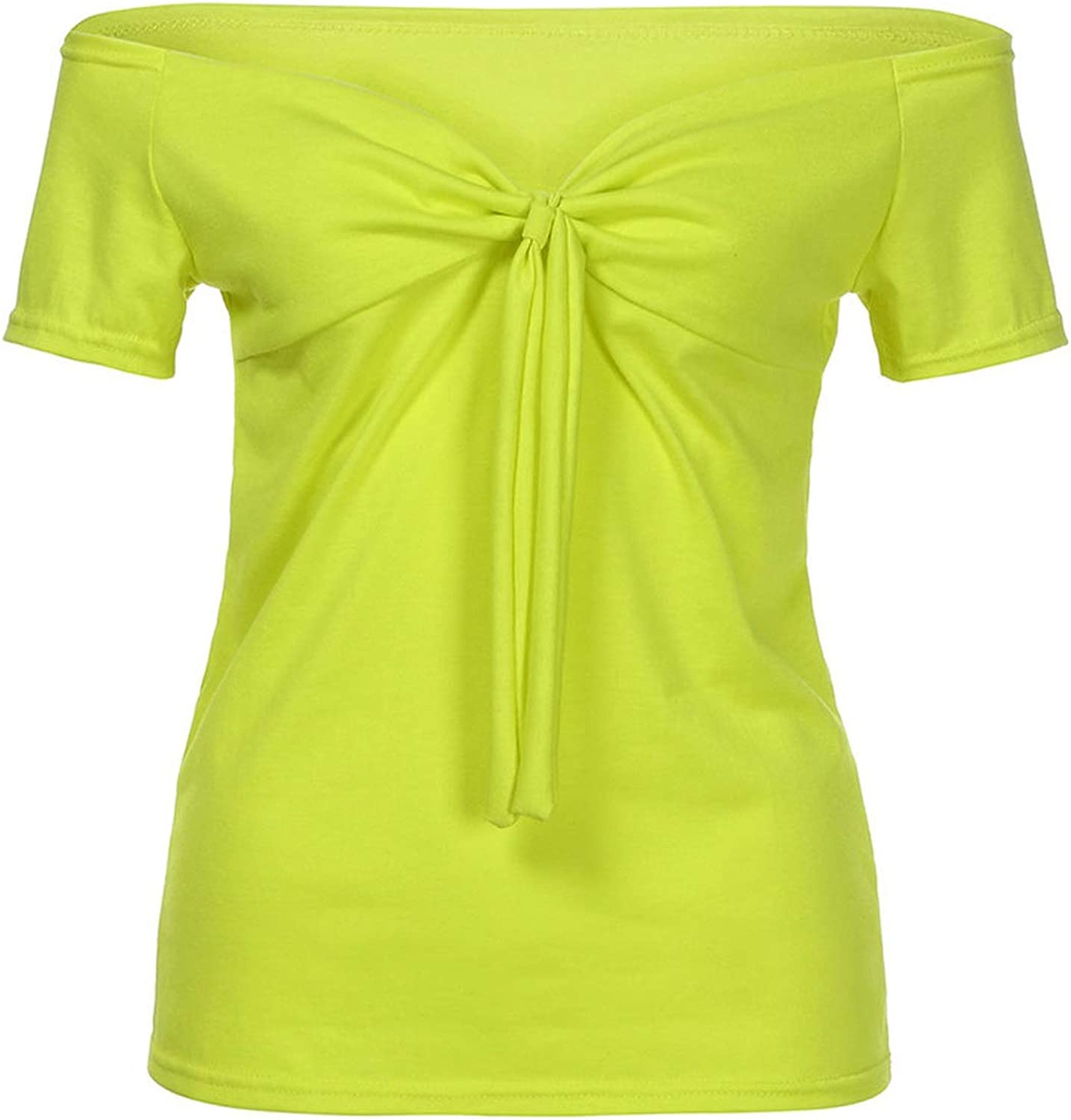 Women Bow-Knot V-Neck Loose Blouses Tunic Tops Summer Top Casual Short Sleeve Shirt