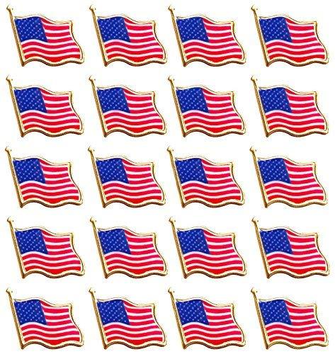 - Bassion 20 PCS American Flag Lapel Pin United States USA Waving Flag Pins