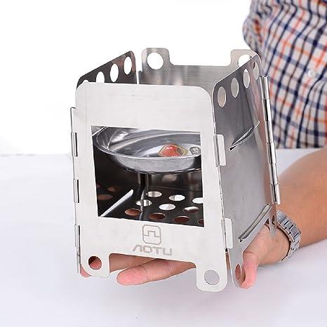 Medio al aire libre multifunción portátil plegable de alcohol estufa de leña bajo consumo leña para