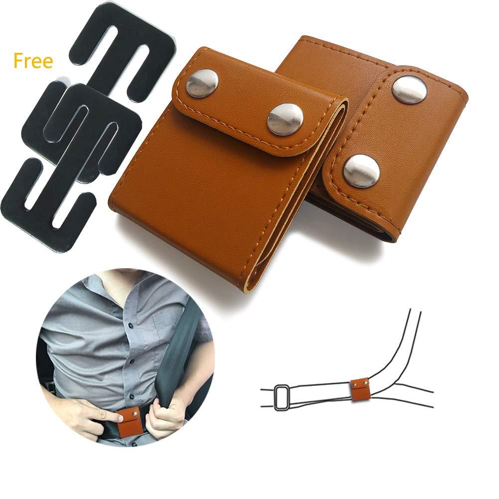 Seatbelt Adjuster, Auto Shoulder/Neck Protector Locking Clip Cover, Vehicle Seat Belt Positioner (2 Pack) (Seat Belt Stop Button-Black) ELE-Jiaruila