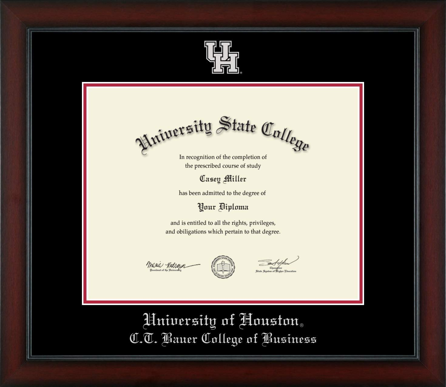 University of Houston C.T. Bauer College of Business - Officially Licensed - Silver Embossed Diploma Frame - Diploma Size 14'' x 11''