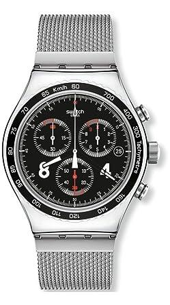 Swatch Reloj Cronógrafo de Cuarzo para Hombre con Correa de Acero Inoxidable - YVS401G: Amazon.es: Relojes
