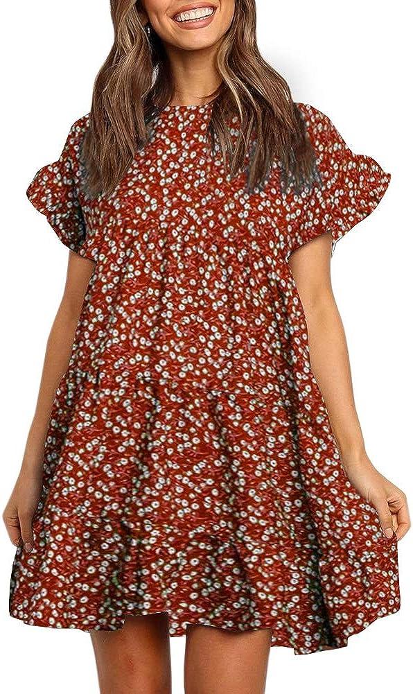 Chuanqi Womens Ruffles Boho Floral Printed Babydoll Loose Swing Casual Short Mini T-Shirt Dress