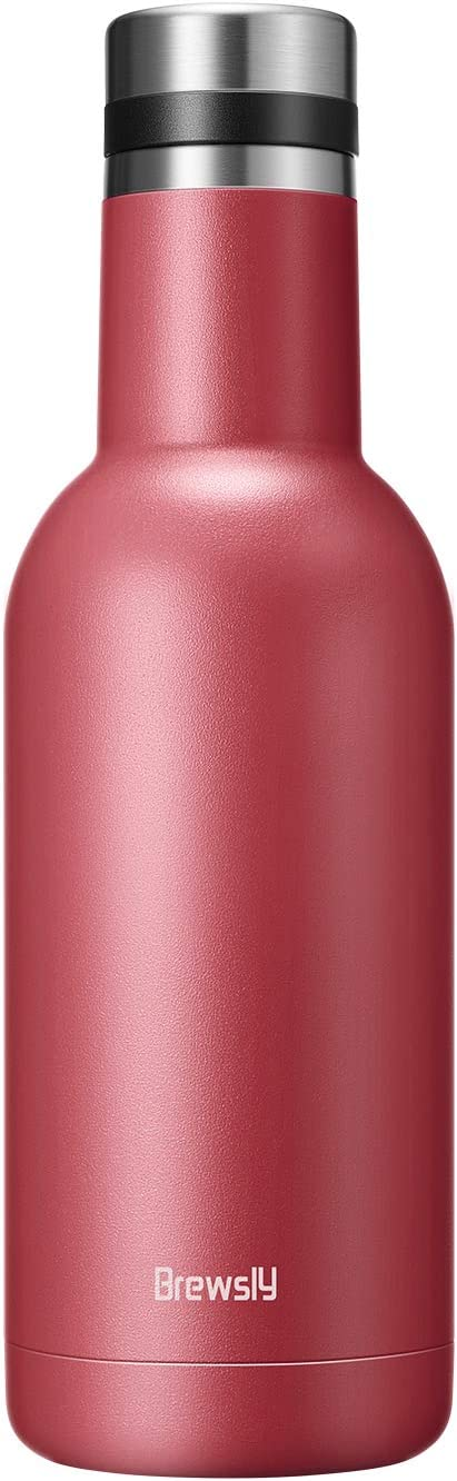 Brewsly Stainless Steel Wine Bottle, 17 Oz Triple-Walled Insulated Wine Canteen, 24-hour Temperature Retention Winesulator with Screw Top Leak Proof Cap, Shatterproof, Outdoor Wine Growler (Rose)