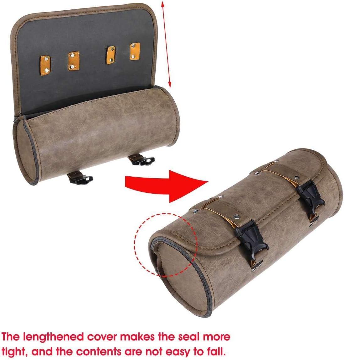 Sucastle Motorrad-Satteltaschen Lenkertasche vorne Werkzeugtasche PU-Leder-Satteltasche Gep/äckaufbewahrung Taschen wasserdichte Rolltasche