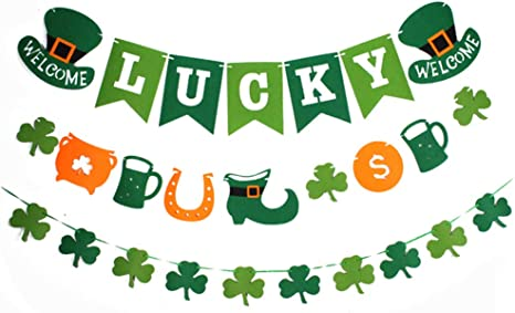 Patrick/'s Day Banner Irish Party Decoration St St Patty/'s Day Shamrock and rainbow Garland