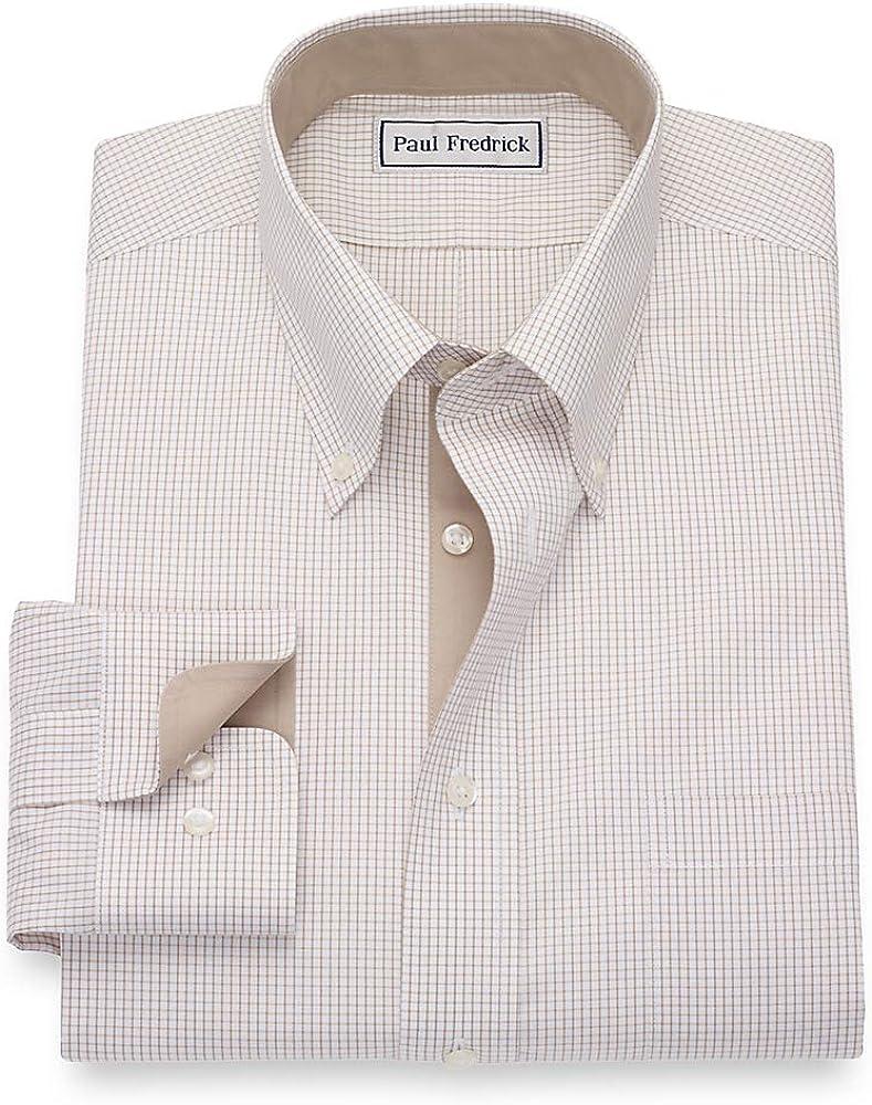 Paul Fredrick Mens Slim Fit Cotton Check Button Cuff Dress Shirt