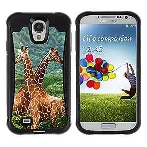 Exotic-Star Hybrid Heavy Duty Shockproof Ballistic Fundas Cover Cubre Case para Samsung Galaxy S4 IV (I9500 / I9505 / I9505G) / SGH-i337 ( La jirafa Amigos )