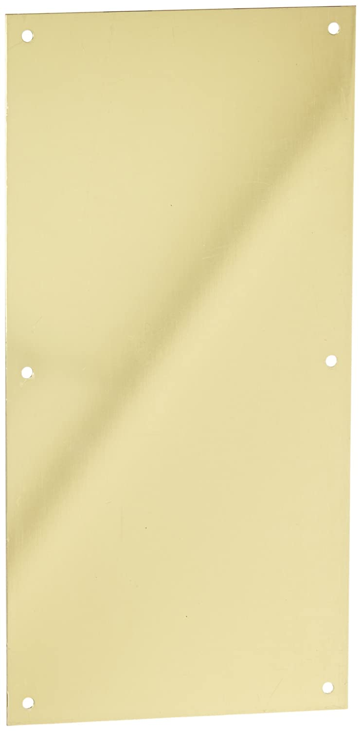 Rockwood 70F.3 Brass Standard Push Plate, Four Beveled Edges, 16' Height x 8' Width x 0.050' Thick, Polished Clear Coated Finish 16 Height x 8 Width x 0.050 Thick Rockwood Manufacturing Company