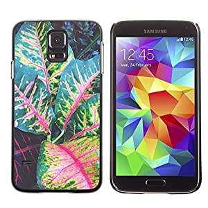 Be Good Phone Accessory // Dura Cáscara cubierta Protectora Caso Carcasa Funda de Protección para Samsung Galaxy S5 SM-G900 // Leaves Tree Green Red Stripes
