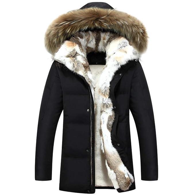 Fowii Invierno Pelo con Capucha Desmontable Cuello Cálido Parker Nieve Hombres Chaqueta Negro: Amazon.es: Ropa y accesorios