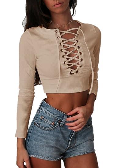 4b81c43bc012 NiSeng Mujeres Sweater Crop Top Ajustado Suéter Que Hace Punto v-Cuello  Manga Larga de la Camiseta Ocasional Blouse
