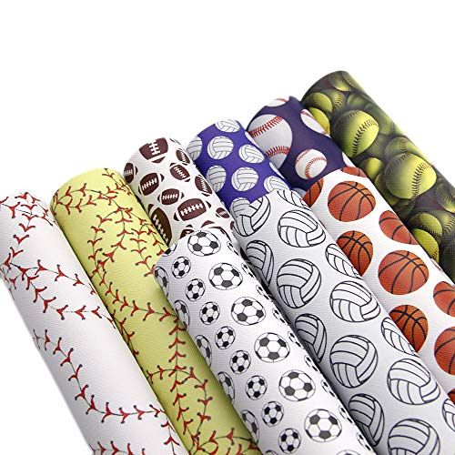David accessories Sport Basketball Football Baseball Printed Faux Leather Sheet Synthetic Leather Fabric 9 Pcs 8