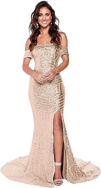 RYANTH Women's Mermaid Sequins Prom Dresses 2020 Off