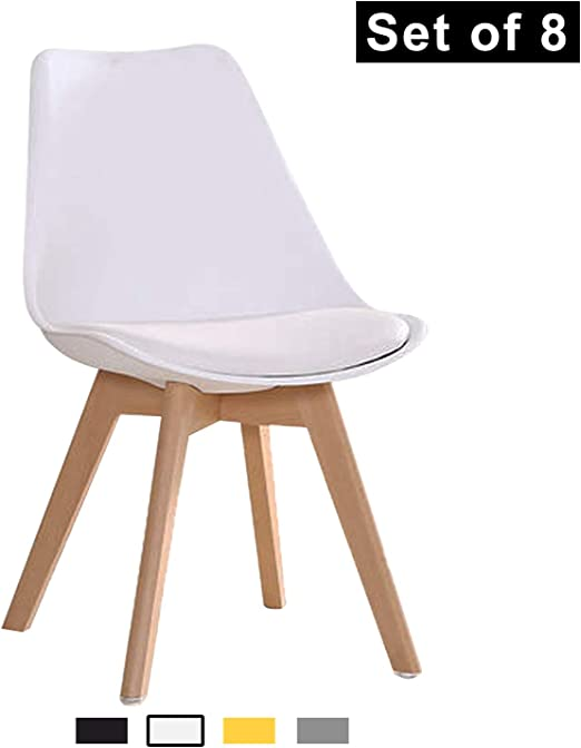 YEEFY Dining Chairs Modern Dining Room Chair Natural Wood Legs, Set of  8(White)