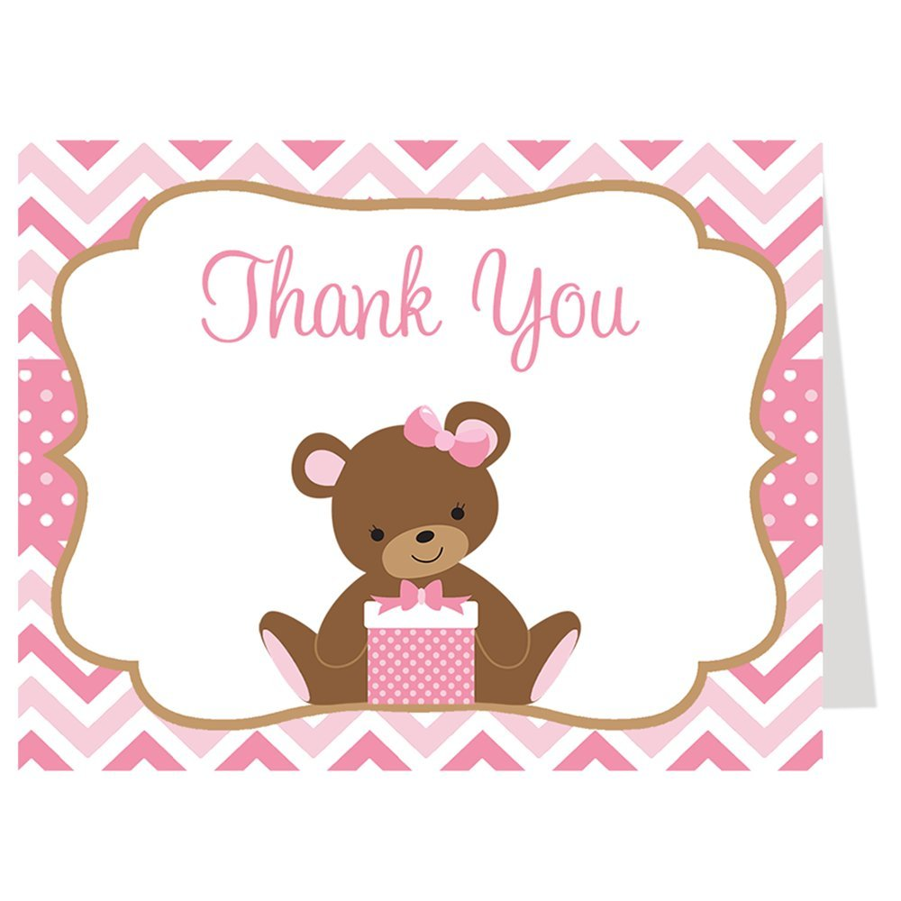 Teddy Bear Thank You Cards Chevron Stripes Polka Dots Baby Shower Birthday Party Gratitude Thanks Pink White Classic Bow Traditional Folding Thank You Notes (50 Count)