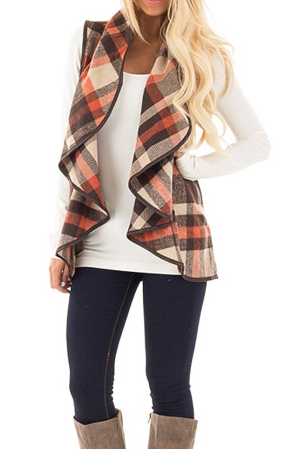 Yacun Women Open Front Buffalo Plaid Sleeveless Cardigan Shawl Vest Coat Coffee S