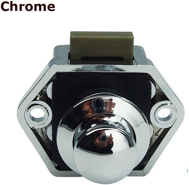 Encell Set of 5 Push Button Catch Cupboard Door Knob Latch Lock for RV Camper Motor Home Caravan