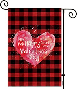UPINLOOK Happy Valentine's Day Garden Flag 12.5 x 18 Inch Vertical Double Sided, Burlap Valentines Day Flag Buffalo Check Plaid Love Heart Yard Outdoor Decorations
