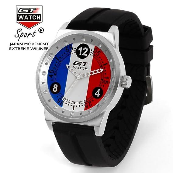 GT reloj banderas colección coche de carreras de piloto militar deportes reloj de pulsera correa de silicona Dial de Francia, Ejército cuarzo wristwtach ...