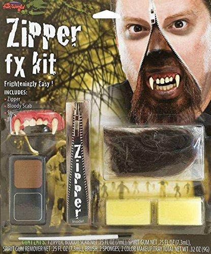 Bristol Novelty Black/brown Werewolf Zipper Fx Kit Make