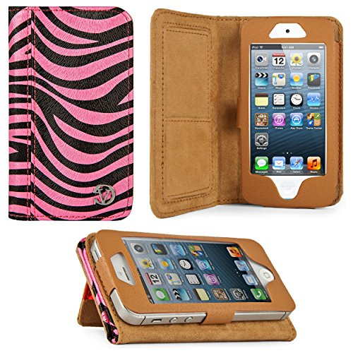 (Black & Pink Zebra Print Design VG Faux Leather Standalone Case for Apple iPhone 5 & Apple iPod Touch 5 (Compatible with All Models))
