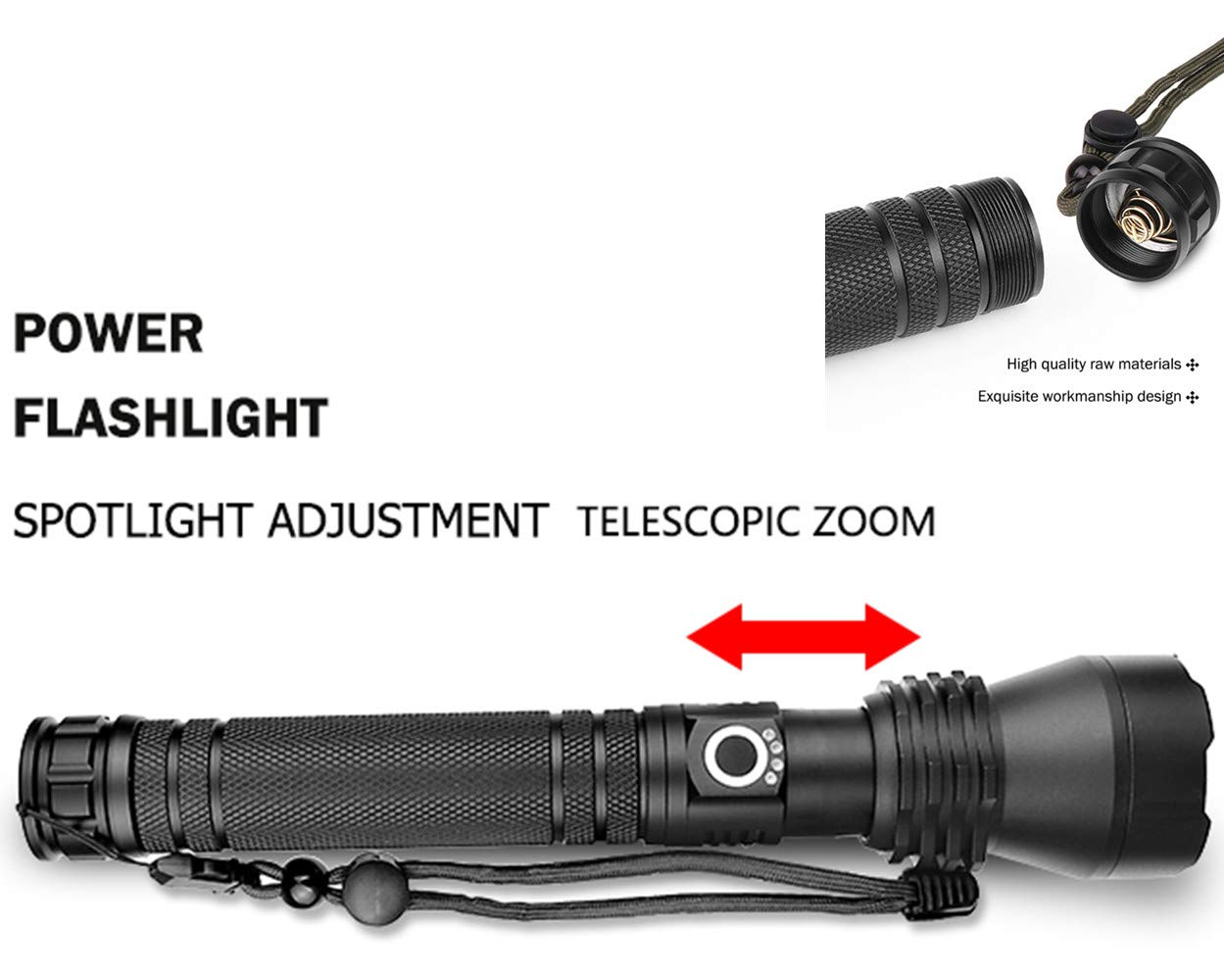 LED XHP50 Highlight Taschenlampe Zoomable Aluminium-Legierung Taschenlampe mit Power-Display