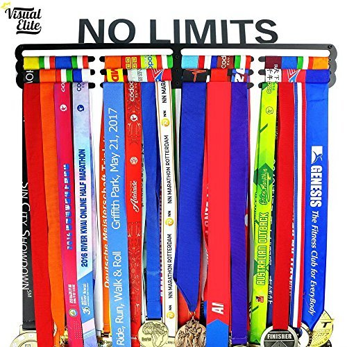 Visual Elite | No Limits | Sports Medal Display Hanger Hand-Forged Black Metal Hanger Design For Marathon, Running, Race, 5K, Wrestling, Jiu Jitsu, Spartan, Etc. The Medal Hangers Collection by Visual Elite