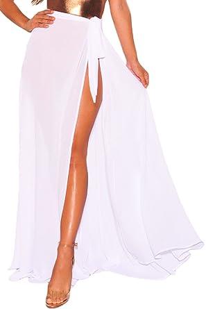 987221f473 Papaya Wear Womens Beach Cover up Sarong Swimwear Cover up Maxi Beach Skirt  - White - Medium: Amazon.co.uk: Clothing
