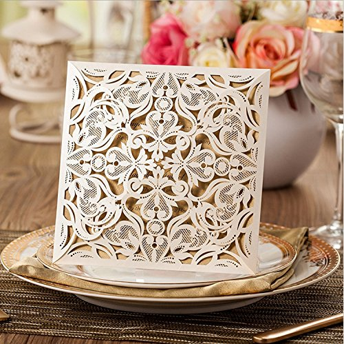 Doris Home Square Ivory Laser-cut Lace Flower Pattern Wedding Invitations Cards Fall Bridal or Baby Shower Invite, Birthday Invitation Wedding Rehearsal Dinner Invites, Autumn Engageme,50pcs,CW519_WH - Flower Shower Invitation