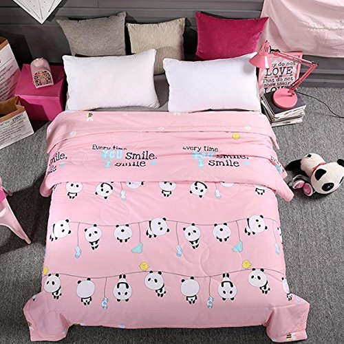 Kids Students Boys Girls Cotton Comforter Summer Quilt One Piece (Full, Pink - Euro Frames Clip
