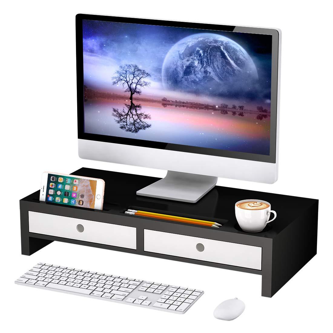 Monitor Stand Riser with Drawer - Desk Shelf Organizer,Keyboard Storage,Stylish Black,22'' x 10.6'' x 4.7'' by Bambloom