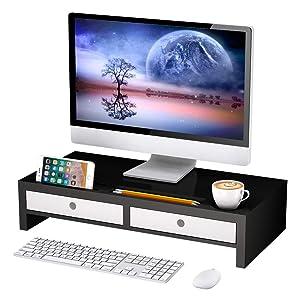 "Monitor Stand Riser with Drawer - Desk Shelf Organizer,Keyboard Storage,Stylish Black,22"" x 10.6"" x 4.7"""