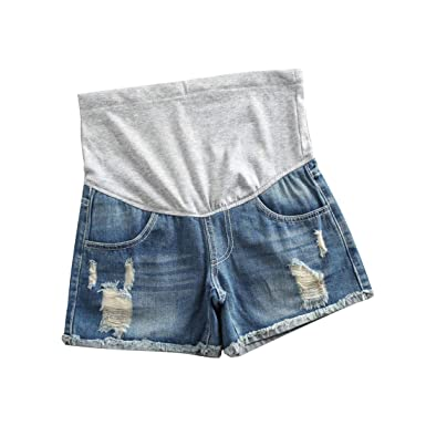 d6608ff9318 Helen-sky Women Maternity Jeans Shorts Pregnancy Pants Denim Maternity  Clothes Short Pants Summer Care Belly Shorts Blue at Amazon Women s Clothing  store
