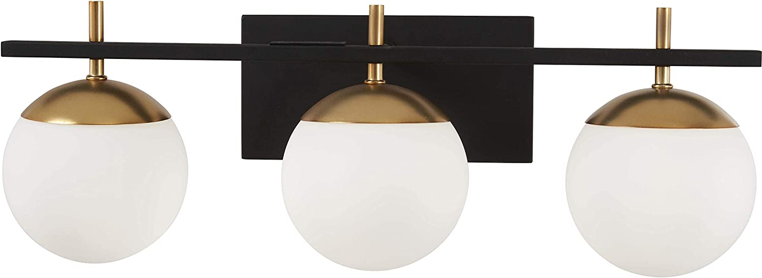 George Kovacs P1353-618 Alluria 3 Light Bath, 225 Watt Total, Weathered Black w Autumn Gold