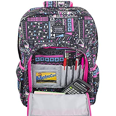 Eastsport Fashion Lifestyle Backpack with Oversized Main Compartment for School or Travel/Hiking, Black/Pink/Sketchy Aztec Print | Kids' Backpacks