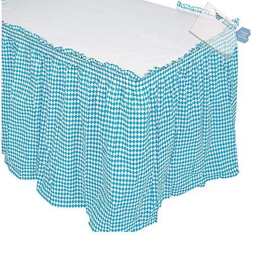 Bargain World Blue & White Argyle Table Skirt (With Sticky Notes)