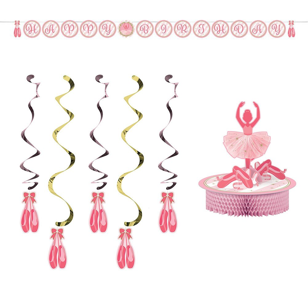 Twinkle Toes Party Decorations Supply Pack: Centerpiece, Jointed Banner, and Dizzy Danglers