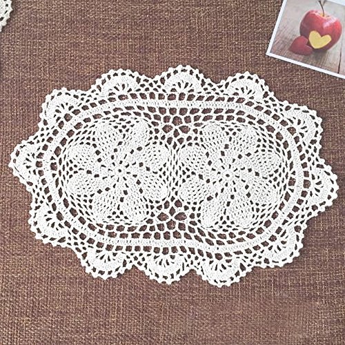 yazi Lace Coasters Doilies Set of 4 White Color Handmade Oval Crochet Cotton Lace Table Placemats 9