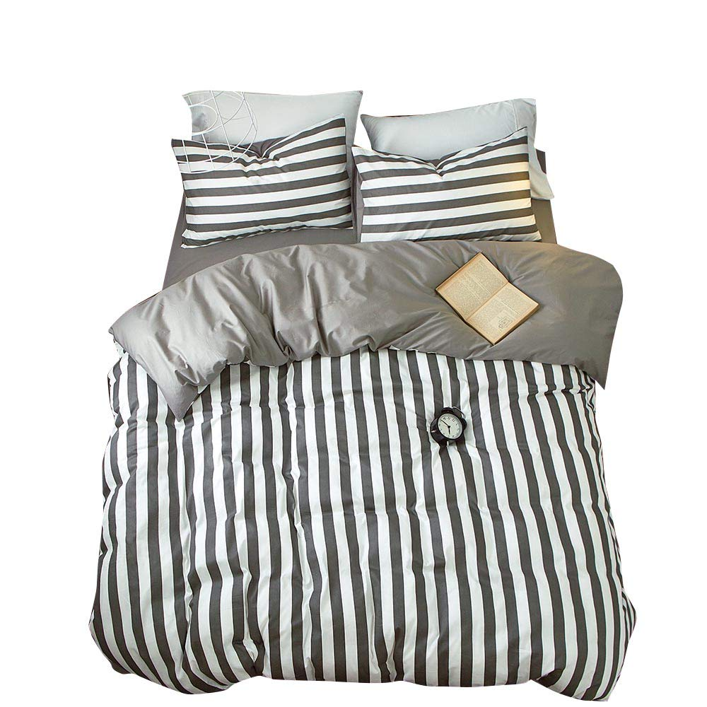 VClife Striped Duvet Cover Grey Boy Man Bedding Sets-200 Thread Count Cotton Hotel Quality Bedding Comforter Cover Sets