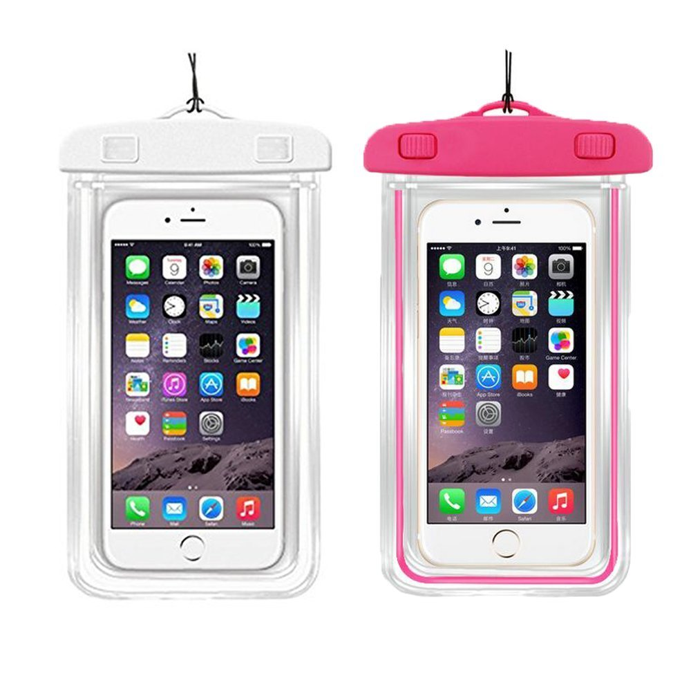 [2Pack Blue+2Pack pink] Universal Waterproof Phone Case Dry Bag CaseHQ for iPhone 7,7 plus,8,8 plus,6/6s/6plus/6splus Samsung Galaxy s5/s6,s7,s8 plus etc. Waterproof for Cell Phone up to 5.8 inches