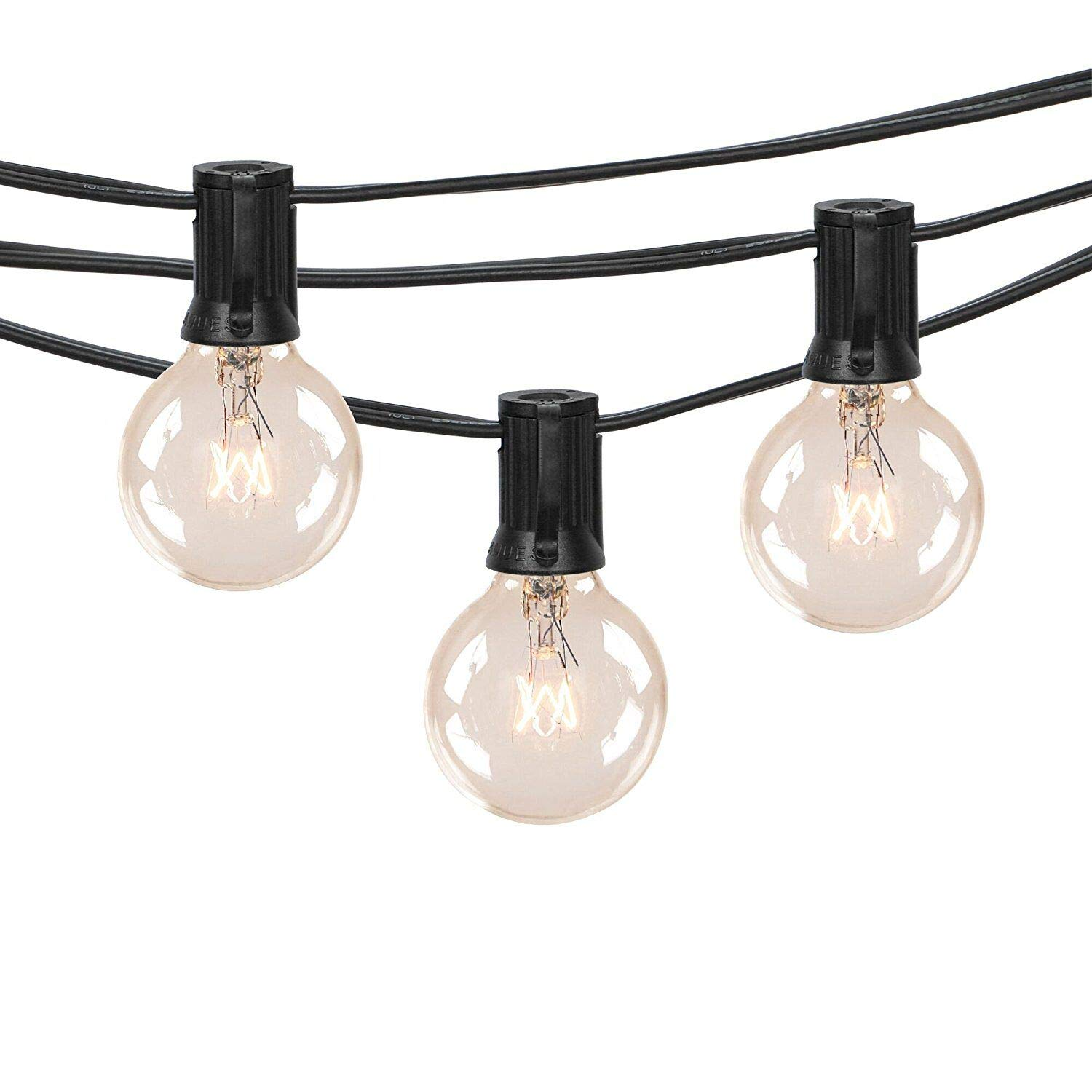 100ft g40 outdoor patio string lights set with clear globe bulbs ul list for outdoor commercial decor old fashion tiki lights for backyard pergola garden
