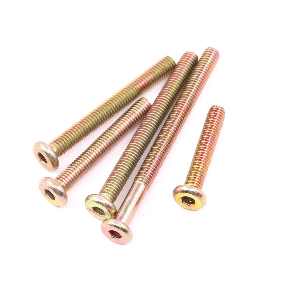 40mm 60mm 70mm 50mm 80mm Glarks 100Pcs Zinc Plated M6 Hex Socket Head Cap Screws Bolts Furniture Crib Bolts with M Barrel Nuts Assortment Kit
