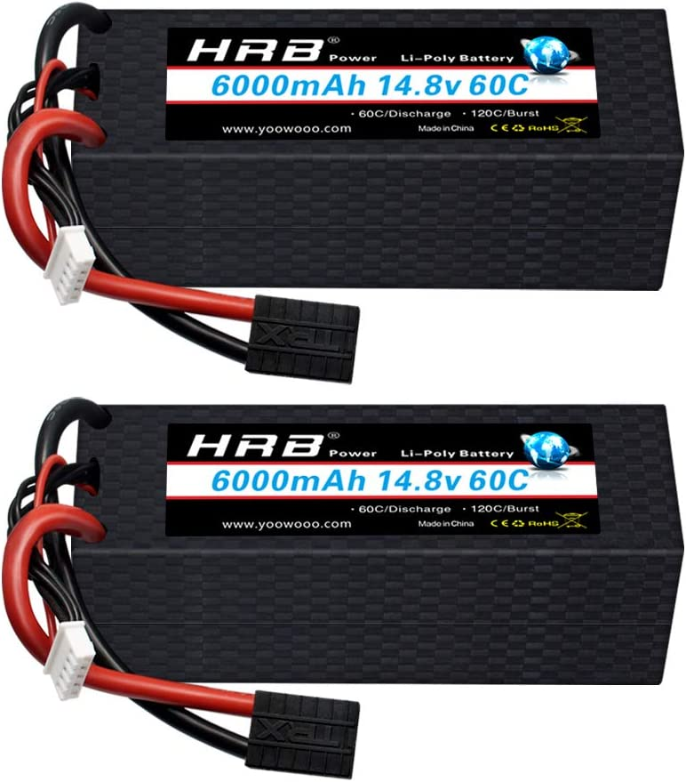 HRB 2Packs 4S 6000mAh 14.8V 50C-100C RC LiPO Battery with Deans Plug for RC Car