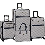 Travel Gear Signature 4 Piece Expandable Spinner Luggage Set (28In/24In/20In/26In), White/Peacoat