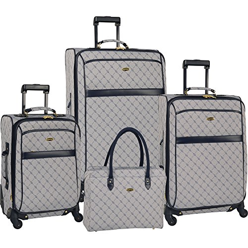 Travel Gear Signature 4 Piece Expandable Spinner Luggage Set (28In/24In/20In/26In), White/Peacoat by Travel Gear (Image #7)'