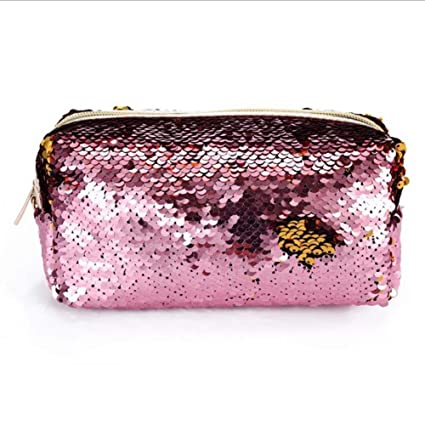 7fde8c24e865 Amazon.com : Mermaid Reversible Sequin Cosmetic Bag Magic Sequins ...